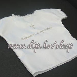 Košuljica za krštenje sa srebernim izvezanim natpisom