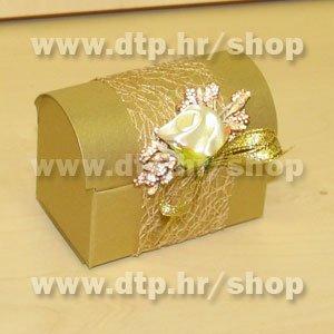 4 Pozivnica/konfet Zlatna škrinjica s tiskom