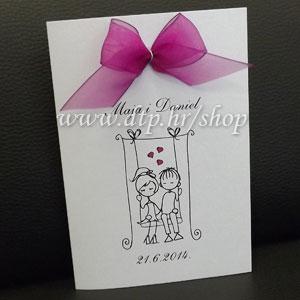 0000pz06114 Pozivnica ili zahvalnica za vjenčanje s tiskom