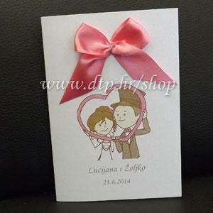 0000pz06214 Pozivnica ili zahvalnica za vjenčanje s tiskom